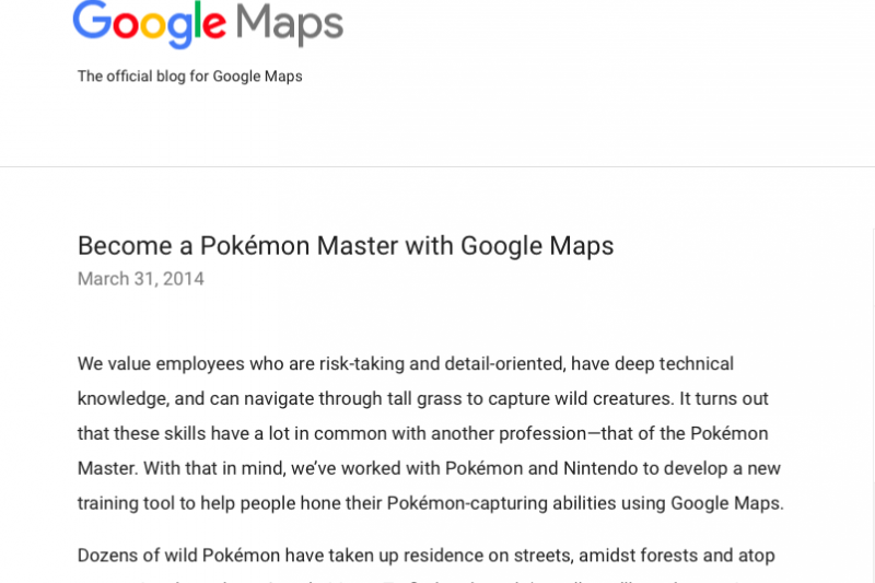 Google在旗下Google Maps的官方部落格上發佈神奇寶貝大師的愚人節公告。(翻攝網路)
