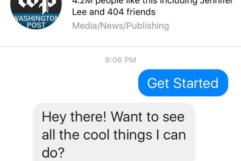 華盛頓郵報的messenger bot。(取自ePublishing 電子出版簡訊)