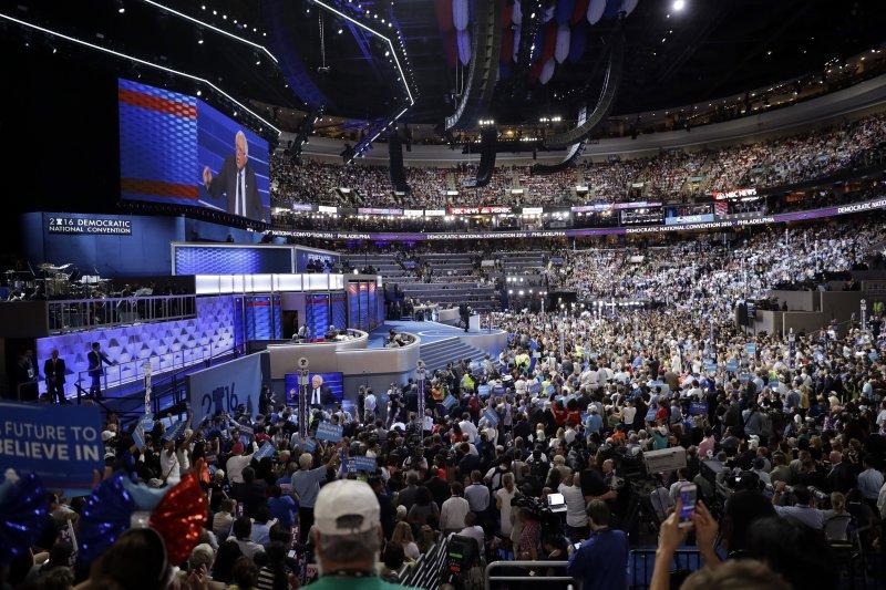 美國民主黨全國大會(DNC)25日在賓州第一大城費城(Philadelphia)登場。(美聯社)