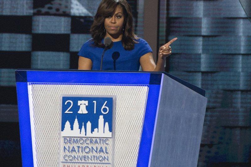 第一夫人蜜雪兒(Michelle Obama)發表動人演說(美聯社)