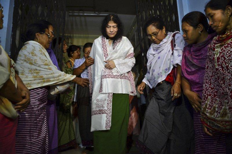 人稱「曼尼普爾鐵娘子」的印度人權鬥士莎米拉(Irom Sharmila)。(美聯社)