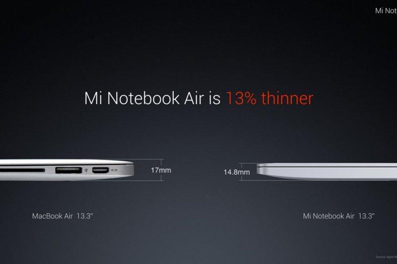 小米筆記本比蘋果MacBook Air更加輕薄。(翻攝小米推特)