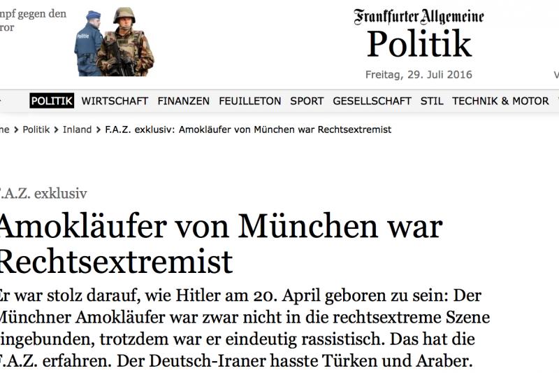 德國《法蘭克福匯報》引述警方說法,稱22日在慕尼黑犯下槍擊案的18歲伊朗裔德國青年是一名右翼極端分子。(翻攝網路)