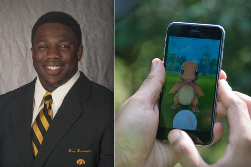 愛荷華大學橄欖球隊隊員艾克凱泰在玩Pokémon GO時,差點被警方誤認為罪犯。