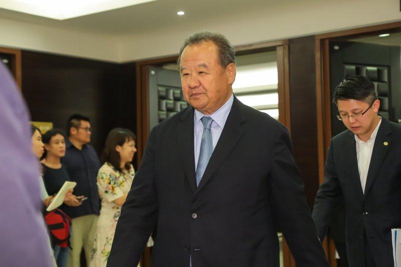 台玻集團總裁林伯實5日出席「海基會第9屆第8次董監事會議」。(顏麟宇攝)