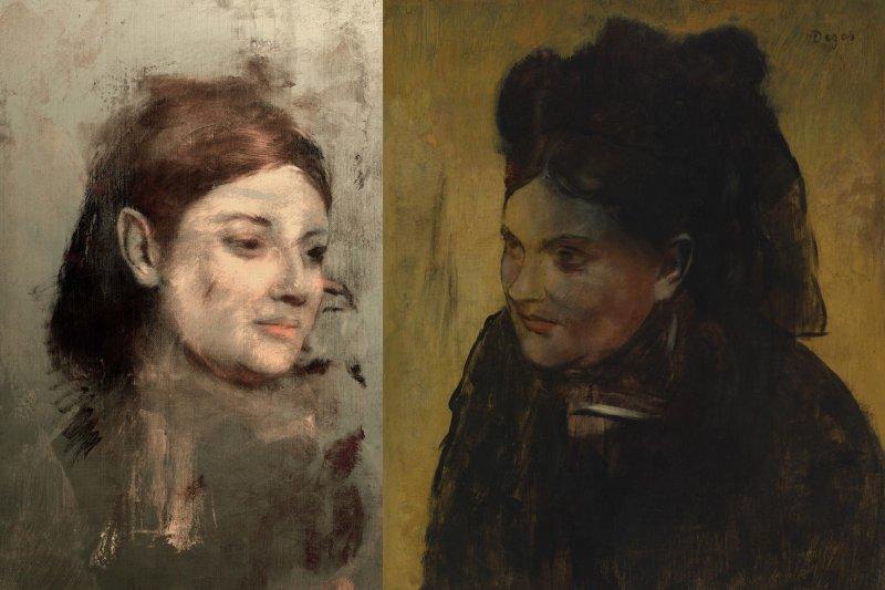 法國印象派大師竇加(Edgar Degas)的《仕女圖》畫中有畫,右邊是世人眼中的畫作,左邊是X光掃描出來、隱藏在下方的另一幅作品(AP)