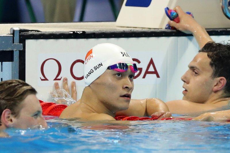 男子400公尺自由式,中國選手孫楊以3分41秒68獲得銀牌(AP)