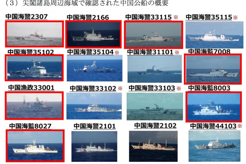進入尖閣諸島(釣魚台列嶼)周邊的中國公務船資料。(海上保安廳)
