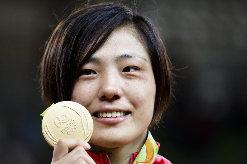 里約奧運柔道女子70公斤級金牌田知本遙。(美聯社)