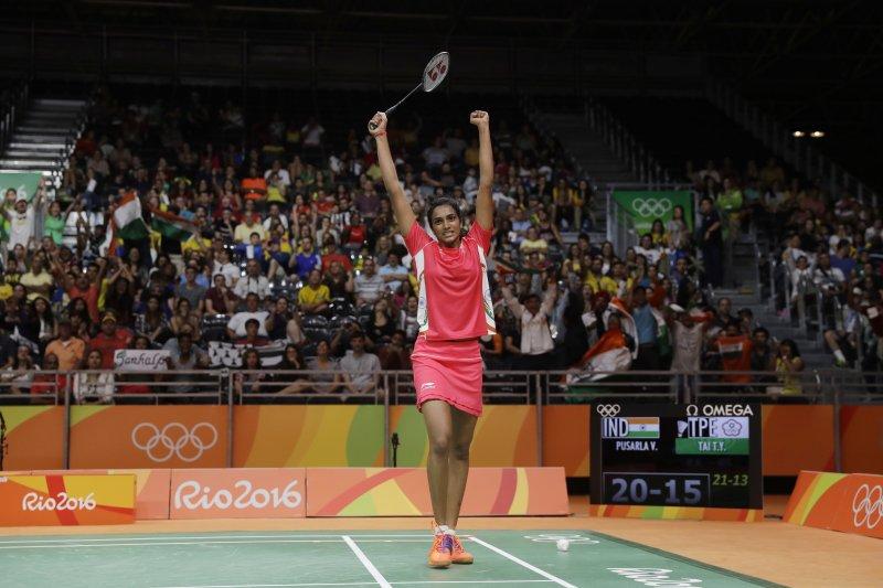 印度羽球女將辛德胡在女單16強賽中擊敗我國好手戴資穎。(美聯社)