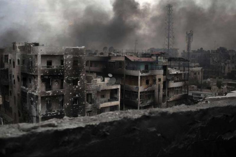 敘利亞北部大城阿勒坡戰火不斷。(美聯社)