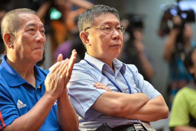 世界大學運動會航空業贊助簽約記者會,柯文哲坐在台下-甘岱民攝