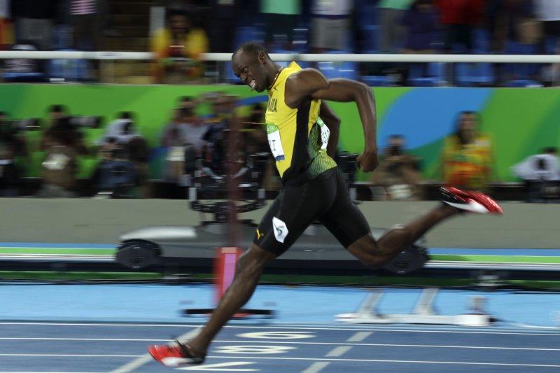 短跑名將「牙買加閃電」博爾特(Usain Bolt)一馬當先,衝抵終點,摘下金牌