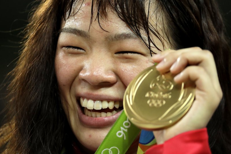 日本63公斤級角力選手、里約奧運金牌川井梨紗子。(美聯社)