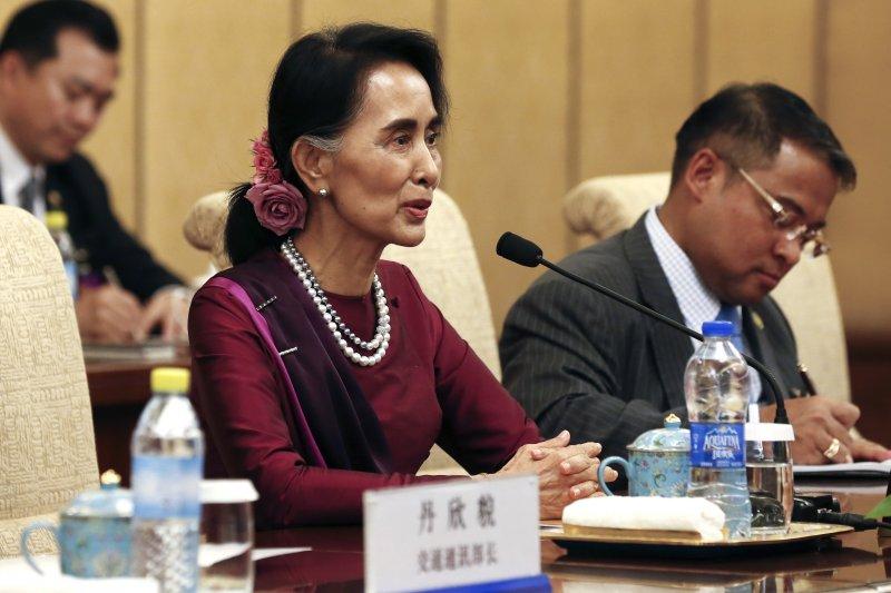 緬甸國務資政翁山蘇姬2016年8月訪問中國(AP)