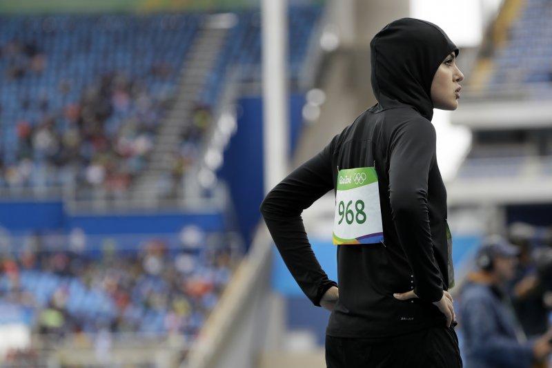 里約奧運上,戴頭巾的穆斯林女性選手成另類焦點。(美聯社)