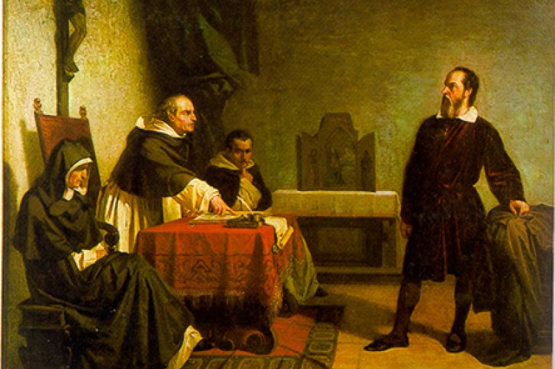 義大利畫家克里斯蒂亞諾.班蒂( Cristiano Banti)在1857年所繪的《伽利略受審》(Galileo facing the Roman Inquisition)(取自Wikipedia)