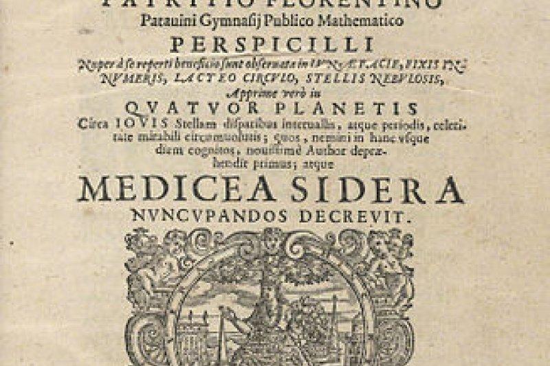 伽利略的《星際信使》(取自wikipedia/*IC6.G1333.610s, Houghton Library, Harvard University)