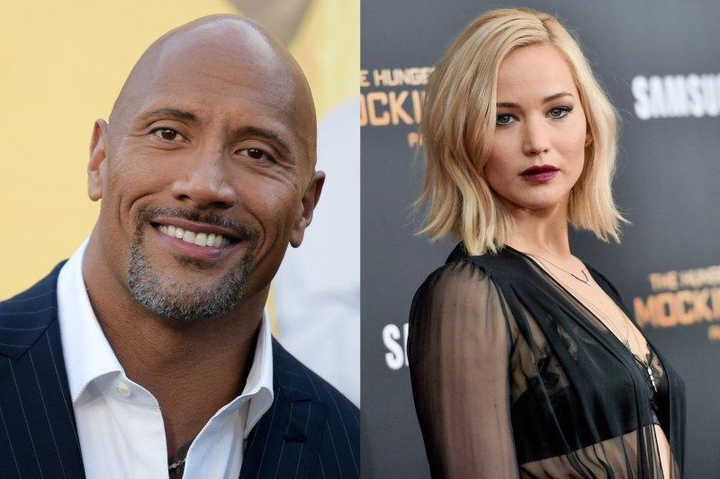 《富比世》(Forbes)2016年收入最高男女演員排行榜,巨石強森(Dwayne Johnson)與珍妮佛勞倫斯(Jennifer Lawrence)分居男女演員第一名。(AP)
