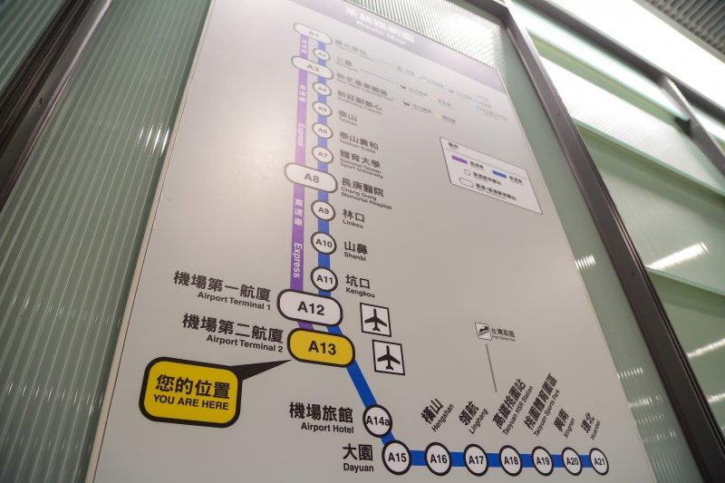 20160827-桃園機場捷運路線圖。(顏麟宇攝)