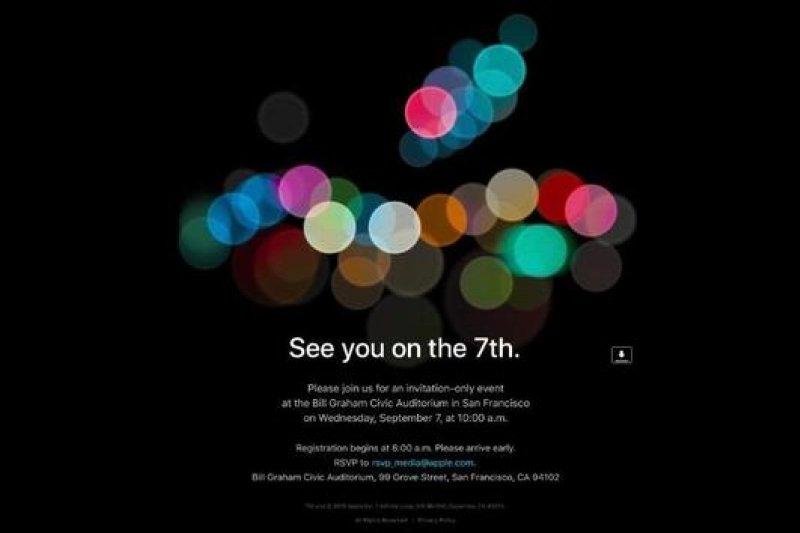 蘋果發出邀請函確定9月7日新品發表會。(取自網路)