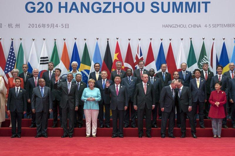 杭州G20峰會的與會國領導人一同合照。(美聯社)