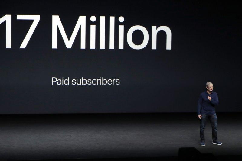 蘋果iPhone 7、Apple Watch發表會,Apple Music的1700萬訂戶(美聯社)