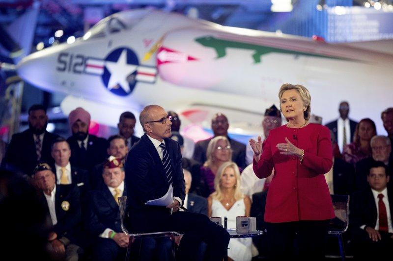 希拉蕊(右)參加「三軍統帥論壇」,表達對國安與軍事議題的看法。(美聯社)
