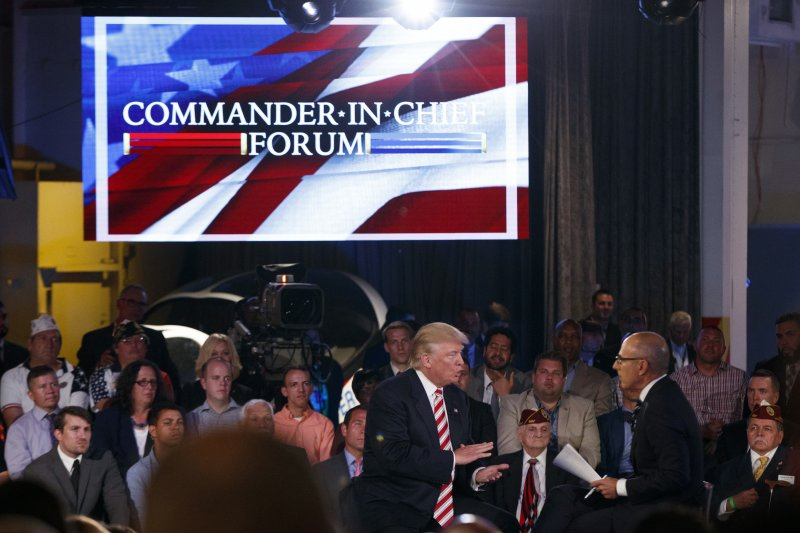 川普(左)參加「三軍統帥論壇」,表達對國安與軍事議題的看法。(美聯社)