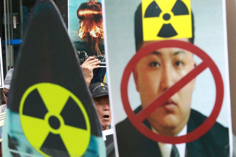 北韓試爆核彈,南韓民眾抗議(AP)