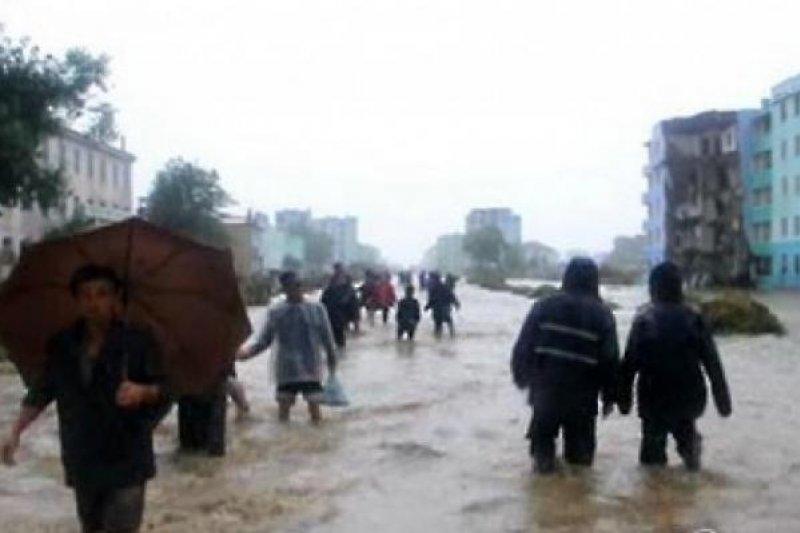 北韓面臨嚴重洪患。(翻攝KCTV)