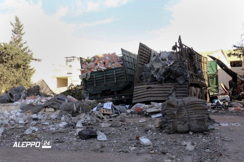 敘利亞停火協議已生效,但聯合國人道救援車隊竟慘遭空襲炸毀、司機也全數喪生。(美聯社)