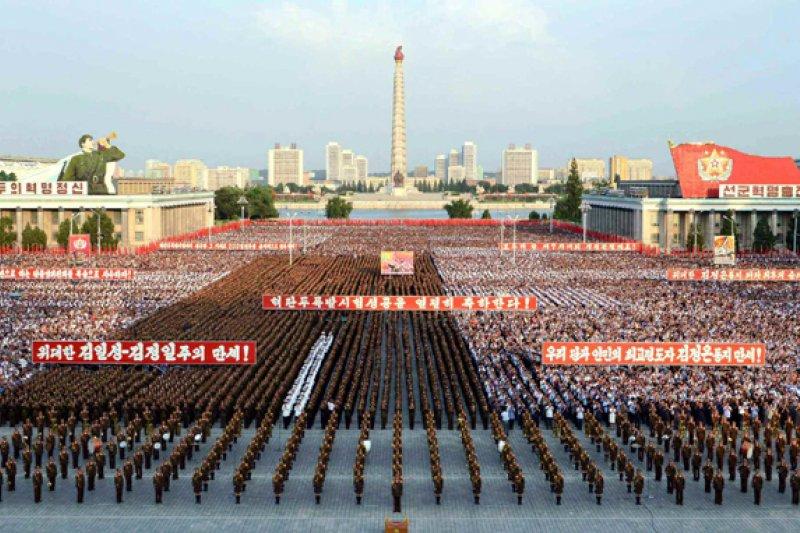 平壤市舉行軍民聯歡大會慶祝成功進行核彈頭爆炸試驗(取自網路)