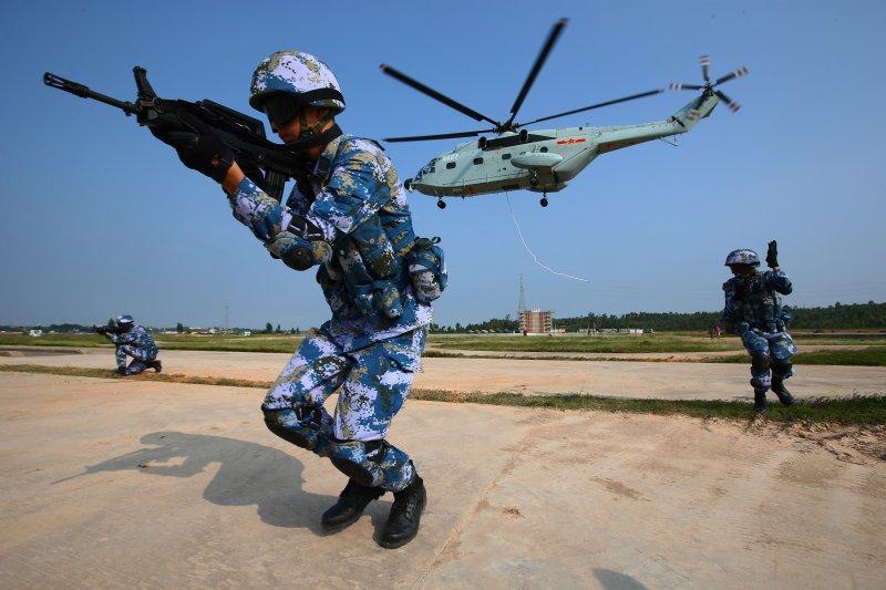 中俄海上聯合2016軍演。(美聯社)