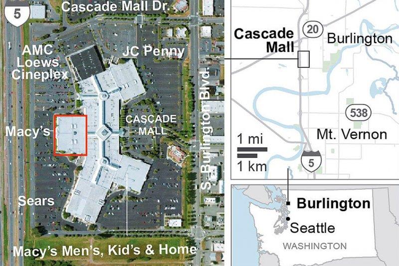 美國柏靈頓瀑布商場(Cascade Mall)槍擊案案發現場示意圖。(AP)