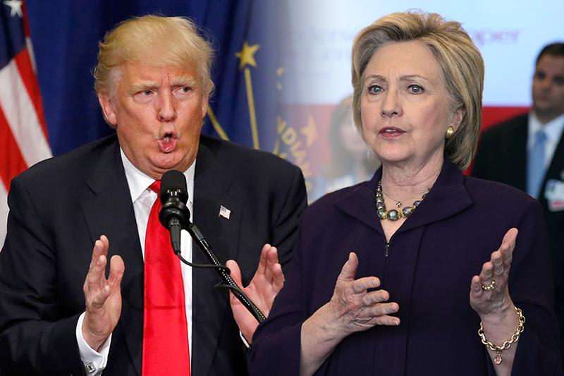 民主黨總統候選人希拉蕊(右)立場偏向鷹派,共和黨總統候選人川普(左)政策則是胡謅(AP,風傳媒製圖)