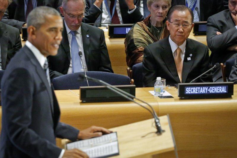 聯合國秘書長潘基文與美國總統歐巴馬。(美聯社)