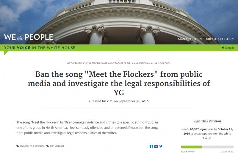 美國黑人饒舌歌手的歌曲出現歧視華人內容,引發美籍華人向白宮請願禁播。(翻攝白宮請願網站)