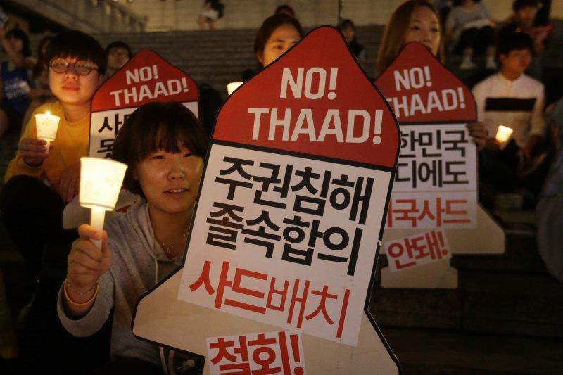 南韓民眾抗議薩德部署。(美聯社)