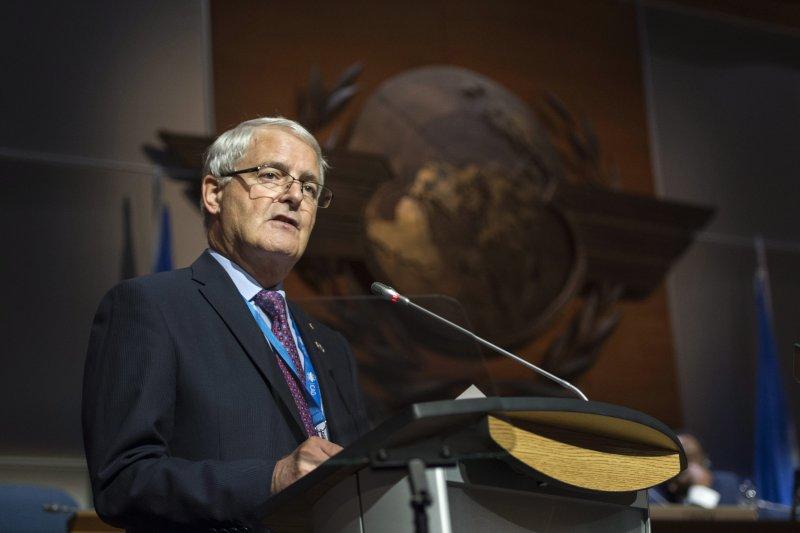 2016年國際民航組織(ICAO)大會在加拿大蒙特婁舉行,加拿大運輸部長賈諾(Marc Garneau)致詞。(AP)