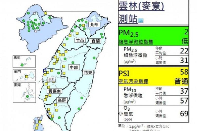 雙十連假期間,雲嘉地區PM10可能會飆高。(取自環保署空氣品質監測網)