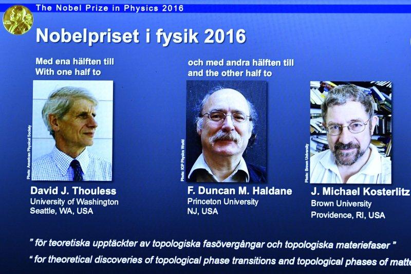 2016年諾貝爾物理學獎得主4日揭曉,由左至右:圖勒斯(David J. Thouless)、哈爾丹(F. Duncan M. Haldane)與寇斯特利茲(J. Michael Kosterlitz)(AP)