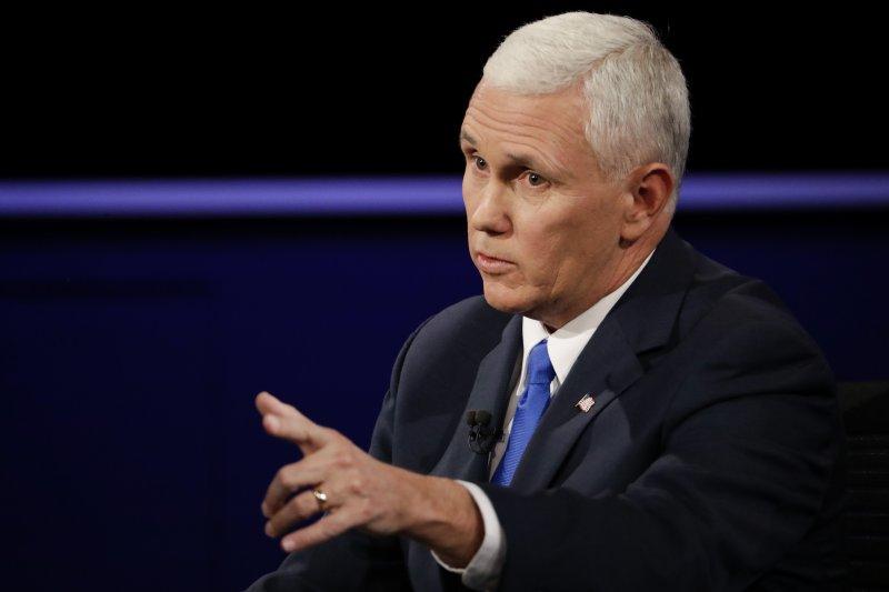 美國總統大選副手辯論落幕,共和黨副總統候選人彭斯。(美聯社)