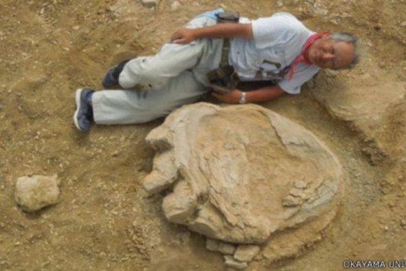 泰坦巨龍的腳印長度有一公尺。(圖取自BBC中文網)