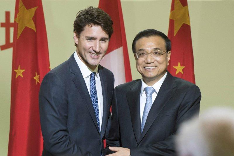 加拿大總理杜魯道今年9月訪問中國,與中國國務院總理李克強會談。(美聯社)