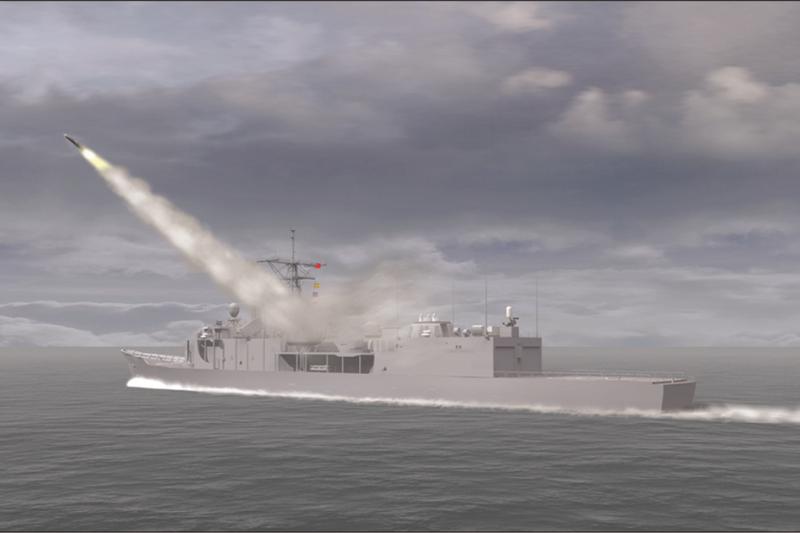 電腦模擬動畫,雄三彈於艦上發射之雄姿。(取自中科院網站)