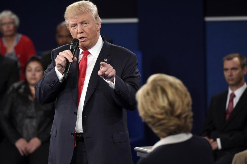 美國總統候選人第二場辯論。(美聯社)