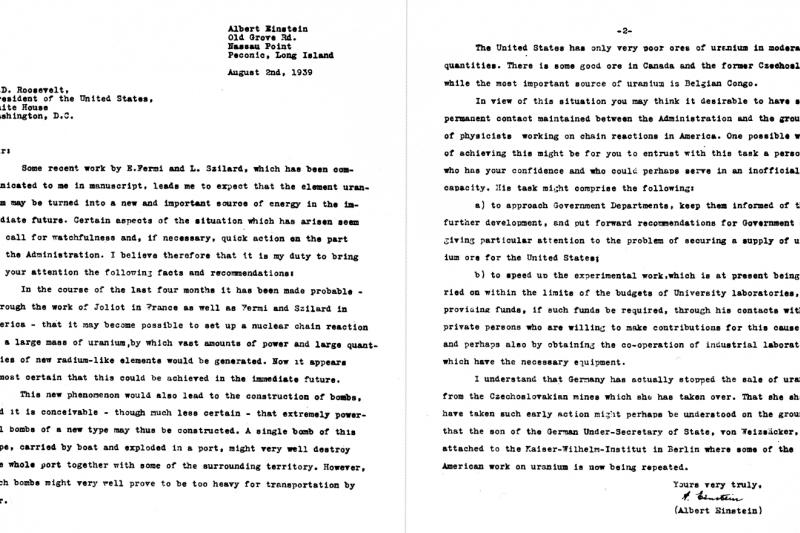 愛因斯坦致信小羅斯福,告誡他趕在納粹之前投入核武研發。(圖/維基百科公有領域)