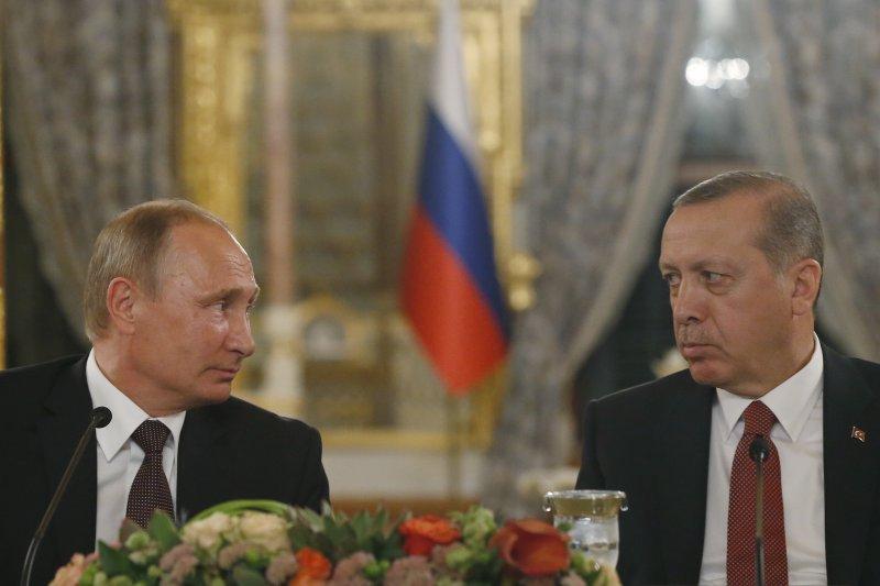 土耳其總統埃爾多安和俄羅斯總統普京在伊斯坦堡簽署天然氣管道建設項目協議。(美聯社)