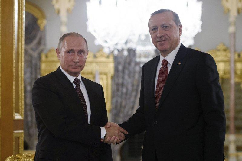 土耳其總統艾爾多安和俄羅斯總統普京在伊斯坦堡簽署天然氣管道建設項目協議。(美聯社)